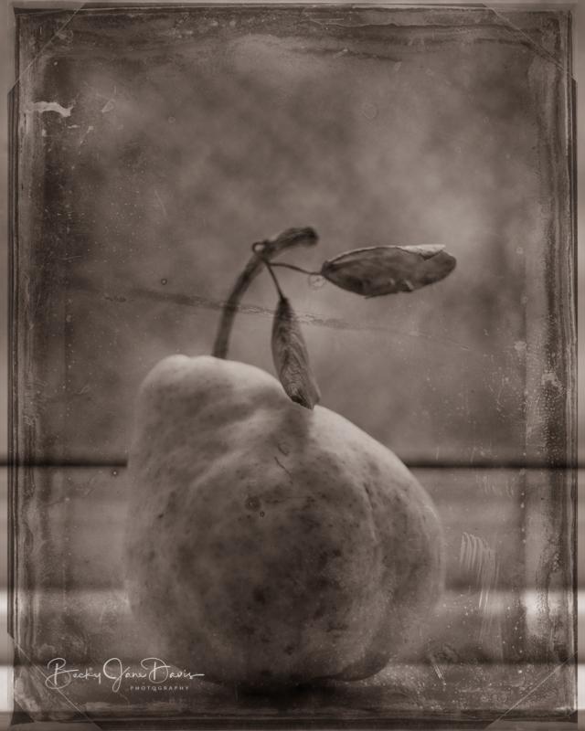 Grunge Pear on Windowsill