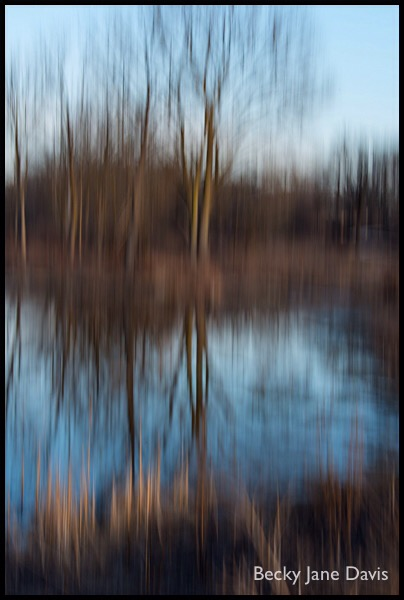 Winter River Reflections, Sunset